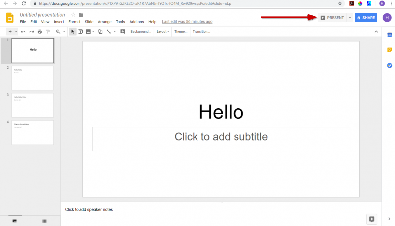screenshot showing where to click to start presenting a google slides presentation