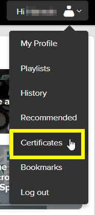 screenshot of profile menu