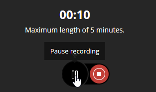 screenshot showing where to pause or stop recording