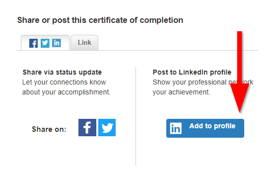 screenshot of add to linked in profile button