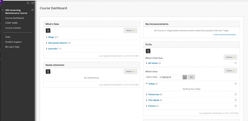 Screenshot of Course Dashboard page