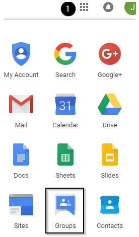 screenshot showing grid of google apps. Groups is highlighted