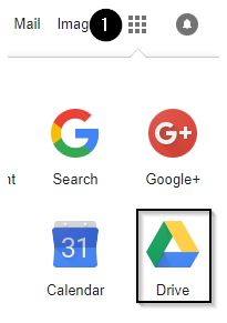 Screenshot of grid of Google Apps. Google Drive is highlighted.