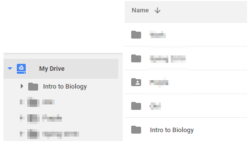 screenshot showing an example of a new folder appearing in google drive