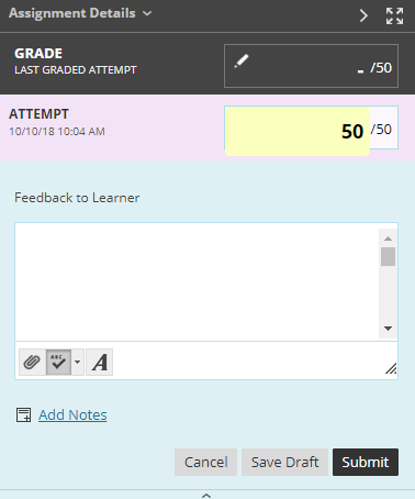 screenshot showing where to give students a grade