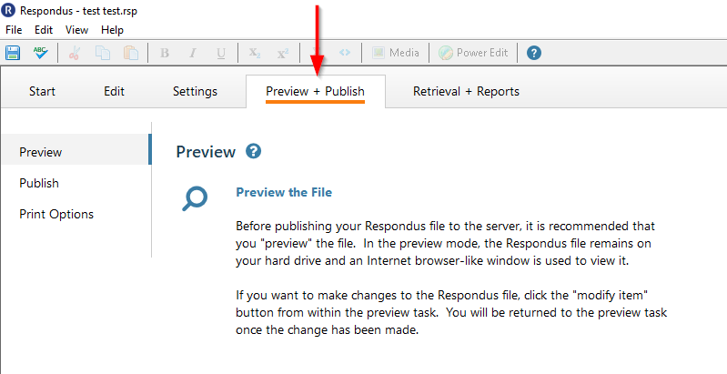 Click on the preview and publish tab