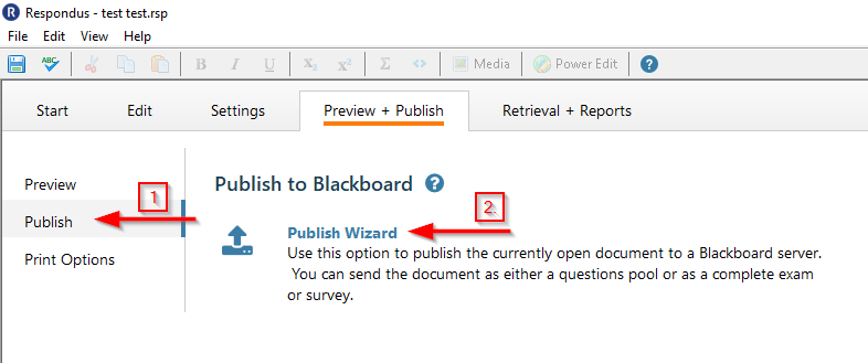 screenshot showing where to click to get to the publish wizard