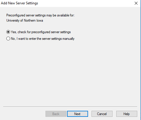 "screenshot showing that ""yes, check for preconfigured settings is selected"""