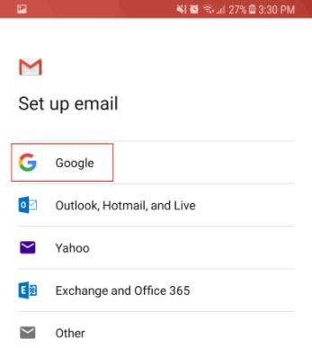screenshot of google email option