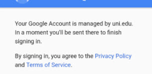 screenshot of privacy and terms of service