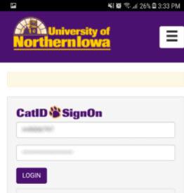 screenshot of cat id login