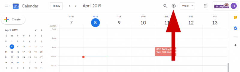 screenshot of gear icon on google calendar page