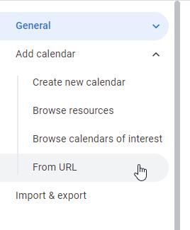 screenshot of google calendar settings menu