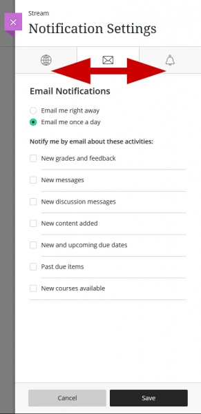 screenshot of email notifications menu