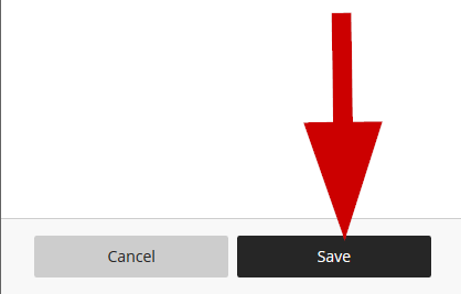 screenshot of save button