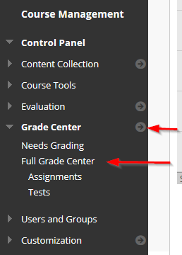 screenshot showing how to access the full grade center