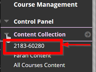screenshot showing location of course ID number link to access the course's Content Collection