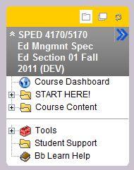 screenshot of course template's course menu