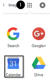 screenshot showing the grid of google apps. Calendar is highlighted