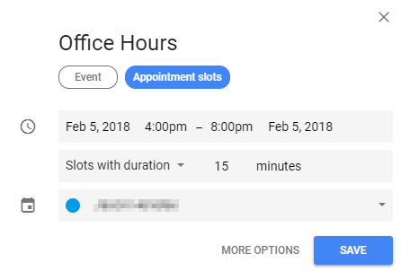 screenshot showing the event name and where to select the appointment slots option