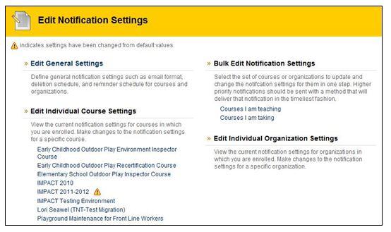 Edit Notifcation settings page image