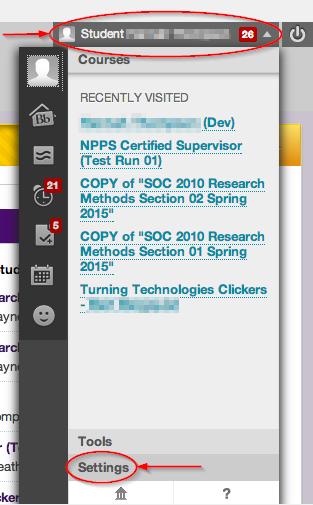 Navigating to notification settings
