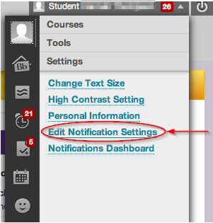 Navigating to notification settings