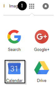 screenshot showing grid of google apps. Calendar is highlighted