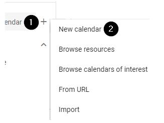 screenshot showing how to create a new calendar