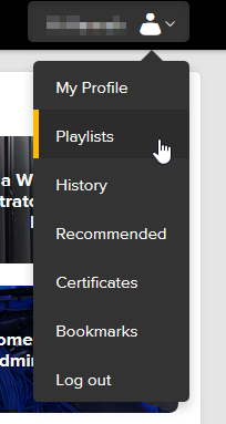 screenshot showing profile menu. mouse is hovering over Playlists