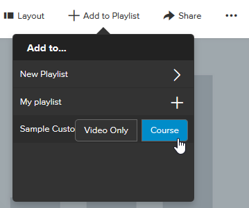 screenshot showing option to add a whole course or video only