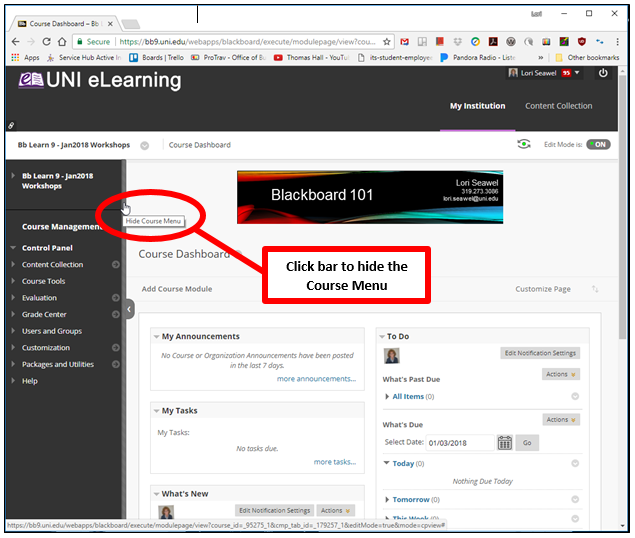 Blackboard course window showing the bar that appears when you hover between the Course Menu and the page content