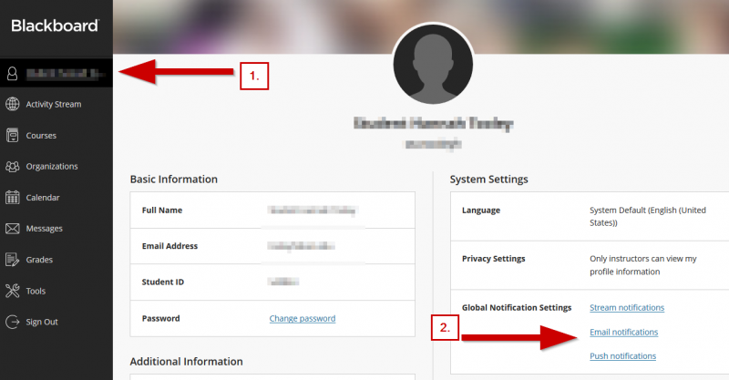 screenshot showing where to access the notification settings from the profile tab