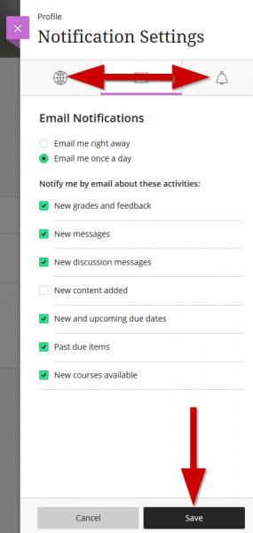 screenshot showing toggling between notification tabs