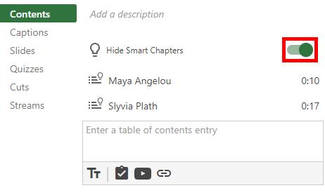 Contents, captions, slides, quizzes, cuts, streams Panopto menu