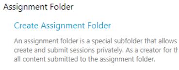 screenshot of create assignment folder link