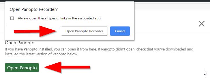 screenshot of open panopto recorder button