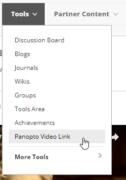 screenshot of course tools menu