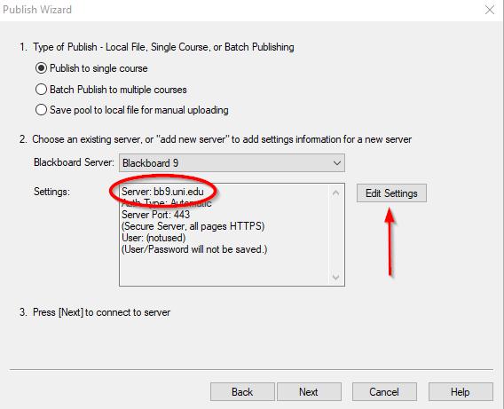 screenshot showing the old server settings (bb9.uni.edu)
