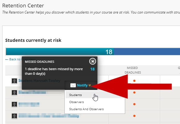 screenshot of breakdown of at risk students and notify option