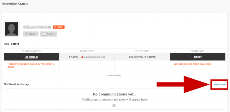 screenshot of add note button