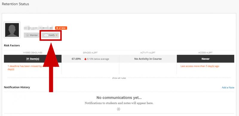 screenshot of notify button
