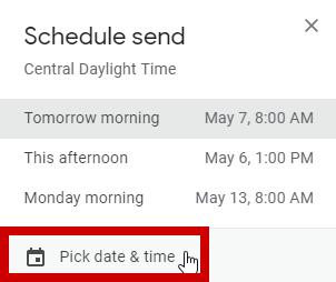 screenshot of pick a date and time calendar
