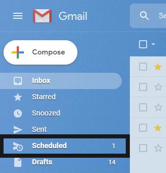 screenshot of scheduled email folder