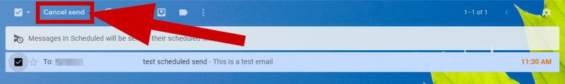 screenshot of cancel send option