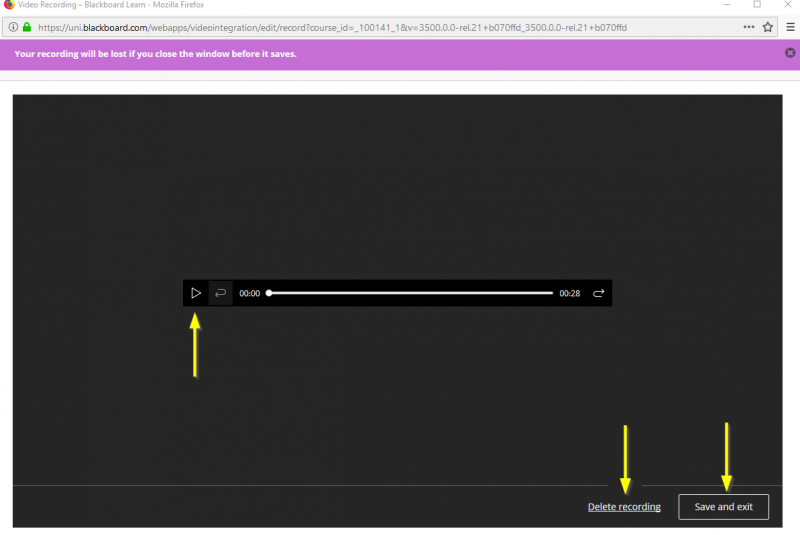 screenshot showing where to play audio, delete or save recording