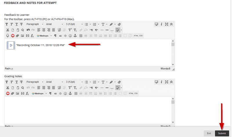 screenshot showing the recording in the text editor
