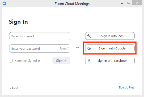 Zoom log in with sign in with google boxed in red