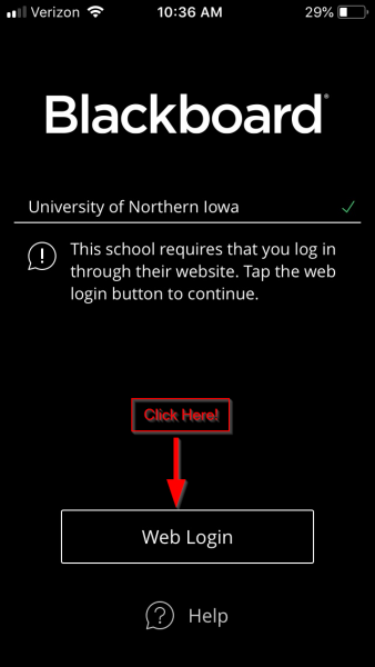 Screen shot of Blackboard Mobile App showing the new correct login page with a Web Login button.