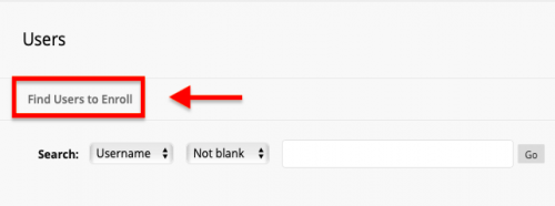 find users to enroll button boxed in red
